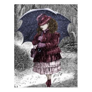 Vintage Meisje met Paraplu in het Briefkaart van