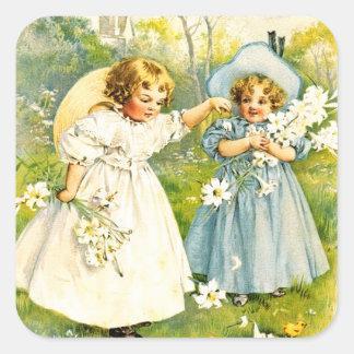 Vintage Meisjes met Kuikens. De Stickers van de