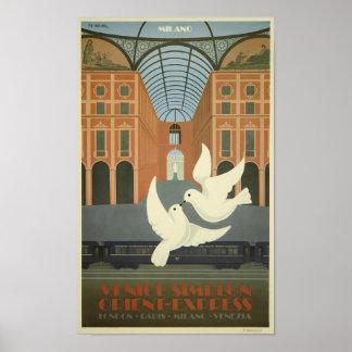 Vintage Milaan Venetië Simplon oriënteert Poster