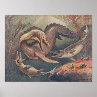 Vintage Mosasaurus versus Druk Ichthyosaurs Poster