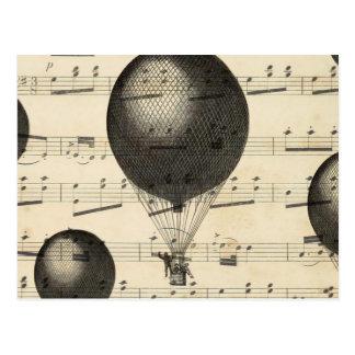 Vintage Muziek en de Antiek Ballons van de Hete Briefkaart