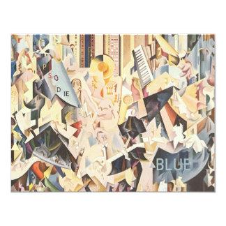 Vintage Muziek, Rapsodie in de Blauwe Jazz van het 10,8x13,9 Uitnodiging Kaart