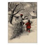 Vintage naar huis Brengend de Kaart van de Kerstbo