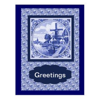 Vintage Nederlands Blauw de tegelontwerp van Delft Briefkaart