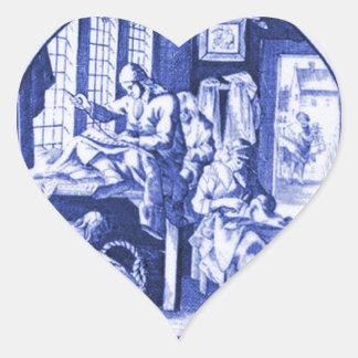 Vintage Nederlands Blauw de tegelontwerp van Delft Hart Stickers