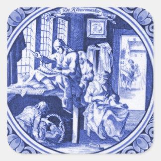 Vintage Nederlands Blauw de tegelontwerp van Delft Vierkante Sticker