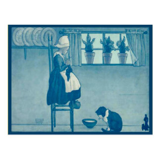 Vintage Nederlands kind die thuis breien Briefkaart