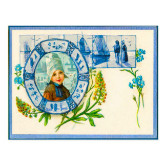 Vintage Nederlandse costulme en de blauwe tegels Briefkaart