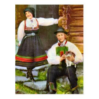 Vintage Noorwegen, Noors traditioneel kostuum Briefkaart