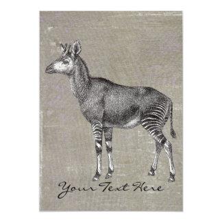 Vintage Okapi 12,7x17,8 Uitnodiging Kaart