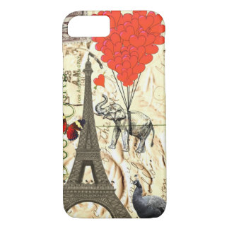 Vintage olifant & rode hartballons iPhone 7 hoesje