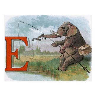 Vintage olifantsvisser visserij briefkaart