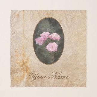Vintage ontwerp. Foto van roze rozen. Voeg uw Sjaal