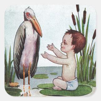 Vintage Ooievaar met Nieuw Baby in Vijver Vierkante Stickers
