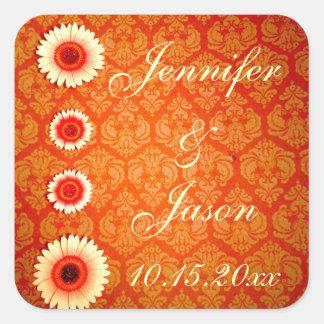 Vintage Oranje Damast en Roze Madeliefjes Vierkante Sticker