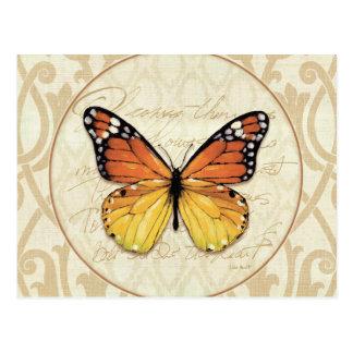 Vintage Oranje Vlinder Briefkaart