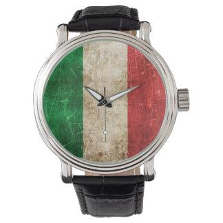 Vintage Oude en Gekraste Vlag van Italië Polshorloge
