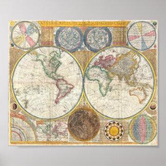 vintage oude wereldkaart poster