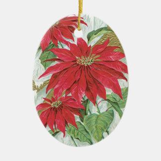 Vintage Ovale Poinsettia Keramisch Ovaal Ornament