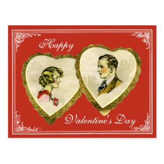 Vintage Paar Valentijn, Huwelijk, PC van het Briefkaart