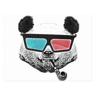 Vintage panda 3-D glazen Briefkaart