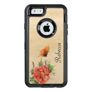 Vintage Papaver en Vlinder OtterBox Defender iPhone Hoesje