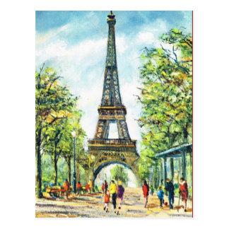 Vintage Parijs, de Toren van Eiffel Briefkaart