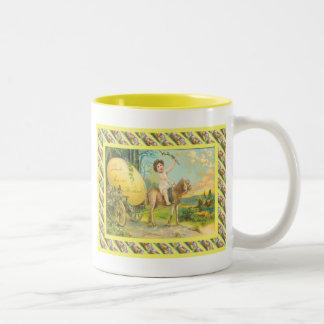 Vintage Pasen, die een ei Vervoer Tweekleurige Koffiemok