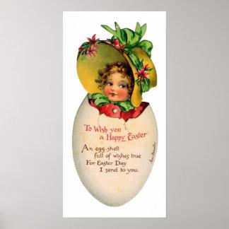 Vintage Pasen, Victoriaans Kind in een Ei Poster