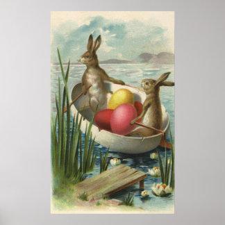 Vintage Pasen, Victoriaans Konijntjes in de Boot Poster
