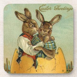 Vintage Pasen, Victoriaans Konijntjes in een Ei Onderzetter