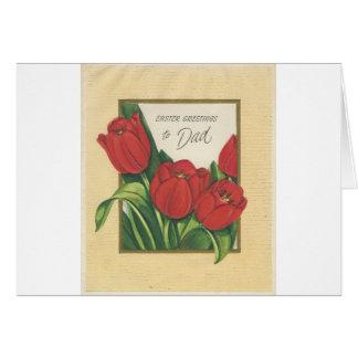 Vintage Pasen voor Papa met Tulpen Briefkaarten 0