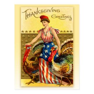 Vintage Patriottische Thanksgiving - Dame Liberty Briefkaart