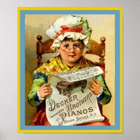 Vintage Piano's 1880 van de Broers van het Dek van Poster