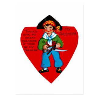 Vintage Piraat Valentijn Briefkaart