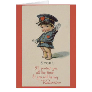 Vintage Politieman Valentijn Kaart