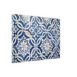 Vintage Portugese azulejo Stretched Canvas Print