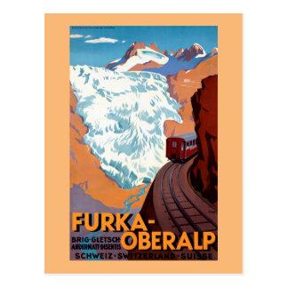 Vintage Poster van de Spoorweg van Oberalp van Briefkaart