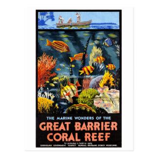 Vintage Poster van het Koraalrif van de Barrière Briefkaart