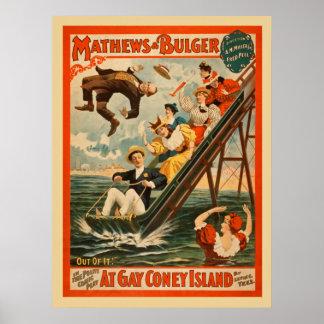 Vintage Poster van het Spel van de Komedie van