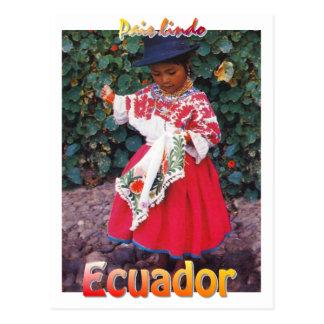 vintage Quechua het briefkaartmeisje van Ecuador Briefkaart