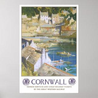 Vintage reis, Cornwall Poster
