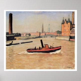 Vintage Reis de Haven van Hamburg Duitsland Poster