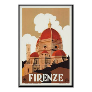 Vintage reis Italië, Florence - Poster