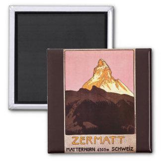 Vintage Reis, Matterhorn Berg, Zwitserland Vierkante Magneet