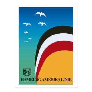 Vintage retro de scheepvaartlijnreis van Hamburg Briefkaart