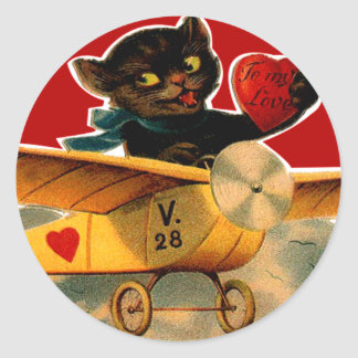 Vintage Retro Katje in Vliegtuig Valentijn Ronde Sticker