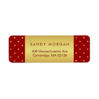 Vintage Rode en Gouden Stippen Etiket