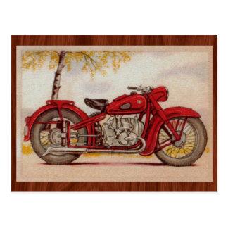 Vintage Rode Motorfiets Briefkaart