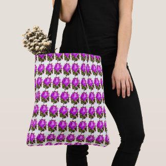 Vintage-roos-bloemen-lente-violet-roze-bolsa-zak Draagtas